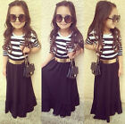 2PCS Classic Kids Baby Girls Outfits Long Sleeve Striped Maxi Dress + Belt 2-7 Y