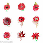 8+Styles Red Crystal Rhinestone Poppy Flower Remembrance Brooch Pin Badge 01