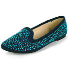 Womens Velvet Loafers Rhinestone Embellished Ballet Flats Round Toe Slip On Shoe
