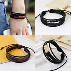 Vintage Women/Men Surfer Tribal Wrap Multilayer  Leather Cuff Bracelet New
