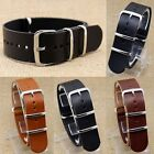 18/20/22mm Leather Wrist Watch Band Strap Mens Stainless Steel Pin Buckle  IDM