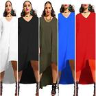 Fashion Elegant Women Sexy Bodycon V Neck Long Sleeves Asymmetric Party Dress S
