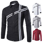 Top Sale Men Luxury Slim Fit Long Sleeve Solid Casual Dress Shirts Tops T-shirt