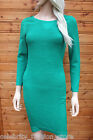Karen Millen Green Ripple Knitted Bodycon Bandage Jumper Dress 8 36 - 12 40 New