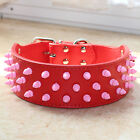 New Red Leather Pet Dog Collar Pink Spiked Studded Large Dog Pitbull Terrier