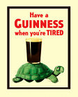 "Beer Guinness Turtle Ireland Classic Bar Art 16""X20"" Vintage Poster FREE S/H"