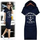 Women Short Sleeve Loose Hooded Bodycon Knee-Length Casual Dresses 2 Colors W