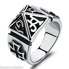 Mens Luxury Vintage Silver Tone 316L Stainless Steel Pyramid Ring Band Jewelry