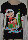 Ladies Betty Boop Naughty or Nice Long Sleeve Christmas Shirt Juniors Sizes S, M $9.99 USD