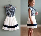 New Kids Child  Baby Girls Navy White Princess Party Woven Dress Dresses 2-7T
