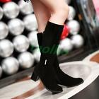 Fashion Women's Winter Warm Snow Knee High Boots Chunky Heel Faux Suede Shoes