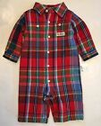 NWT Ralph Lauren Baby Boy Polo Red Plaid One Piece Coverall 9 Mos Twins