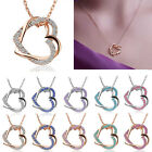 Fashion New Double Heart Crystal Rhinestone Pendant Chain Necklace