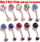 Surgical Steel Gold Belly Bar Navel Button Ring Double Crystal Body Piercing
