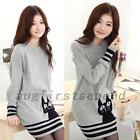 Adorable Cat Pullover Womens Sweater Striped Jumper Holiday Knitwear Knitted Top