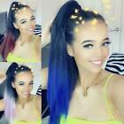 Dip Dye straight claw clamp drawstring ponytail Ombre Various colours