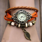Women Men Leather Weave Watch Quartz Leaf Beads Wrist Watches Fit For Lover Gift