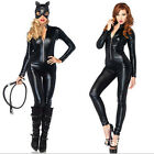 Ladies Black Sexy Smooth Panel PVC Faux Leather Bodysuit Catsuit  Costume
