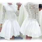 Womens Party Skater Dress Ladies Evening Lace Cocktail Long Sleeve Size 8-18