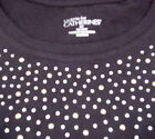 NWT 6X 38/40 Liz & Me Wave of Sparkles TaglessCotton Knit Top  Black