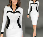 White Womens Elegant Colorblock Optical Illusion Formal Office Sheath Dress