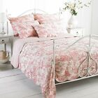 Toile De Jouy Bedspread Throw 100% Cotton Quilt Blanket Paoletti French Country