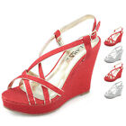 Fashion Ladies heels wedge strappy platform Glitter evening dress wedding shoes