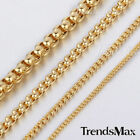 1/2/4/5mm Womens Mens Chain Round Box Gold Tone Stainless Steel Chain Necklace