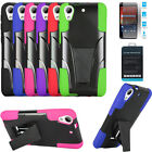 Phone Case For HTC Desire 625 Tempered Glass Screen Rugged Cover Stand