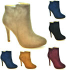 New Women's High Heel Ankle Boots Zipper Faux Suade Ladies Fashion Quality Shoes