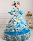 lady  Victorian Gothic Period Ball Gown Theare blue floral cosplay zipper dress