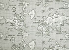 Fryetts Maps Grey Atlas Globe World Map Fabric Curtain Upholstery Quilting Blind
