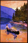 Canada Lady Canoe Lake Beautiful Landscape Vintage Poster Repro FREE S H in USA