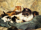 Tabby Cats Poster by Painter Henrietta Ronner Knip Art Poster Repro FREE S/H