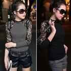 Women's Lace Floral T-shirt Long Sleeve Slim Cotton Tops Blouse Jumper Size 6-16