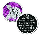 Sparkle LOVE IS 2 Sided Pocket Coin with Poem Silver & Purple Color MM2803-5