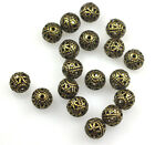 50 Antique Gold Plated Filigree Round Metal Beads 6MM