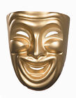 Comedy Mask Smiling Gold Theater Mask Molded Plastic 10474