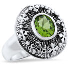 GENUINE PERIDOT ANTIQUE STYLE 925 STERLING SILVER RING,                     #832