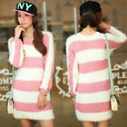Pink White Striped Crew Neck Long Sleeve Womens Sweaters Jumpers Knitwear Tops