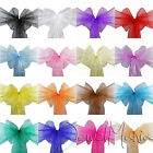 1 10 25 50 100 Organza Sashes Chair Cover Bows Wedding Party Wider Fuller Bows