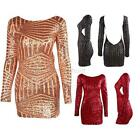 Sexy Womens Long Sleeve Sequins Bodycon Mini Dress Backless Clubwear Party Dress