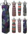 Womens Bandeau Floral Printed Summer Outfit Halter Neck Maxi Dress sizes 8 -18