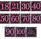 32 Pink/Black Sparkle Paper Luncheon Napkins Birthday Party Serviettes Tableware