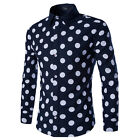 New Mens Korean Big Polka Dot Fashion Slim Causal Long Sleeve Business Shirts