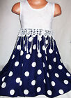 GIRLS WHITE LACE TASSEL BOW TRIM NAVY BLUE SPOT PRINT CHIFFON PARTY DRESS