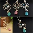 Vintage Women Pendant Silver Chain Branch Birds Turquoise Necklace Jewelry New