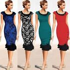 Womens Elegant Rockabilly Party Cocktail Evening Sheath Pencil Fitted Dress