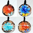 1x Murano Lampwork Glass Round Beads Flower Butterfly Charm Pendant for Necklace