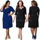 Sexy Womens Lady Midi Dress Belt Deep V-Neck Party Eveing Dress Plus Size V3B7